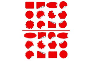 Sticker label set. Red sticky isolat
