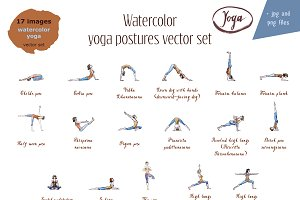 Watercolor yoga postures vector set