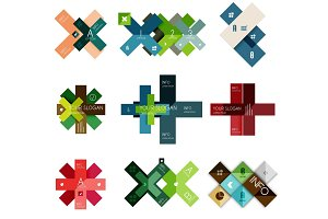 Set of vector cross infographic templates