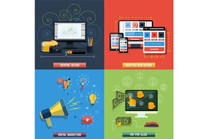 Set icons for web design, seo, socia
