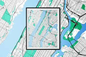 Manhattan - Fully Vectored Road Map
