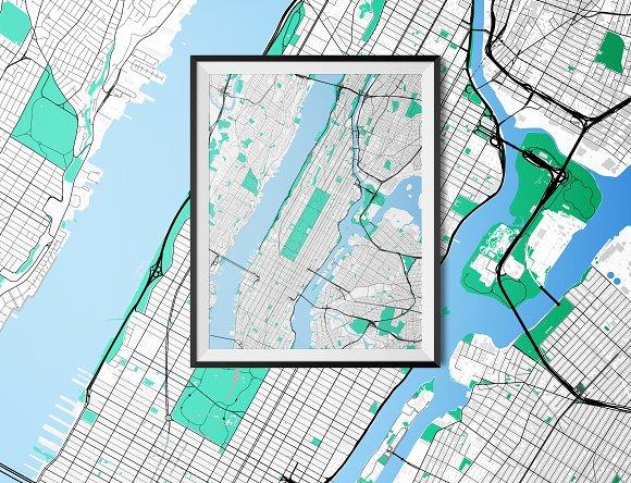 Road Map Of Manhattan.Manhattan Fully Vectored Road Map Illustrations Creative Market