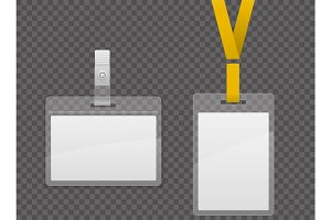 Set of lanyard and badge. Template Plastic Badge Identification Set Can Be Used for Presentation, Company or Office. Empty Mock Up. Realistic vector illustration.