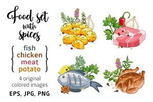 Food and meal vector set with spices
