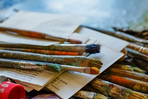 Paintbrushes and paints