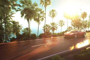 sports car driving on a mountain road over the ocean. 3d illustration