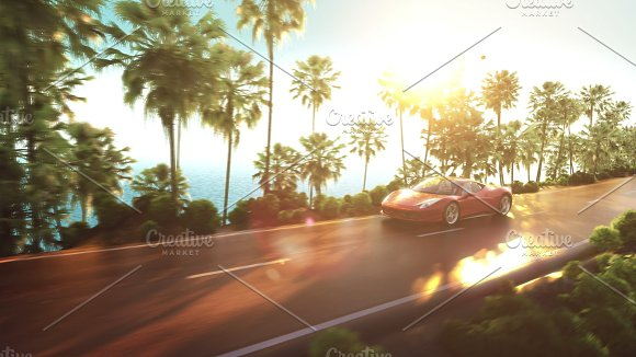 Sports Car Driving On A Mountain Road Over The Ocean 3D Illustration