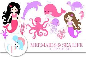 Mermaid and Sea Life Pink Clip Art