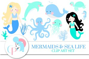 Mermaid and Sea Life Blue Clip Art