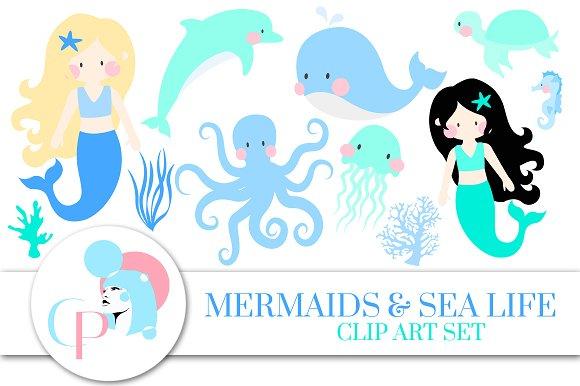 Mermaid And Sea Life Blue Clip Art