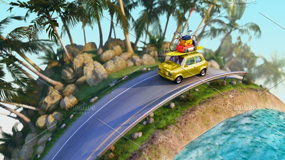 Car For Traveling With A Roof Rack On A Mountain Road 3D Illustration
