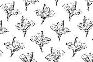 Hibiscus seamless pattern vector
