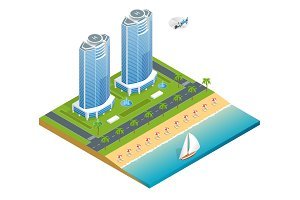 Luxury tropical hotel resort with palm tree, helicopter and sea and sea. Travel summer trip destination and beach resort hotel square concept for infographics collection.Flat vector illustration