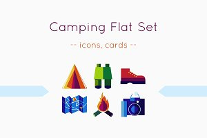 Camping: flat icons and cards
