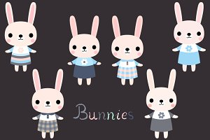 Cute pink bunnies clip art set