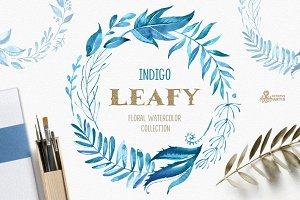 Leafy Indigo. Watercolor Collection