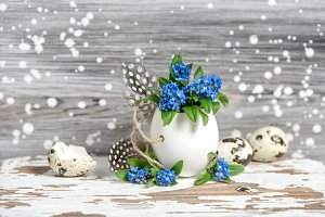 Forget me not flowers Easter deco