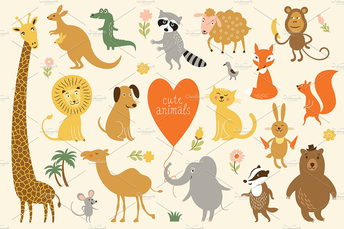 animals clipart animal cute graphics alphabet creativemarket creative illustrations zoo lenlis