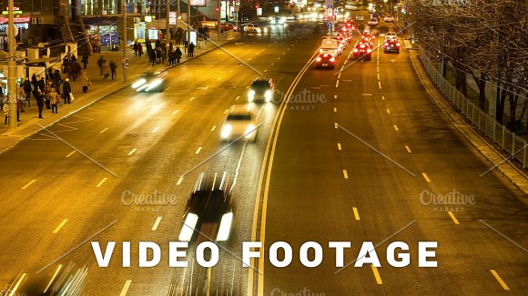 The Flow Of The Cars In The Night City Smooth Blurred Motion Timelapse Shot