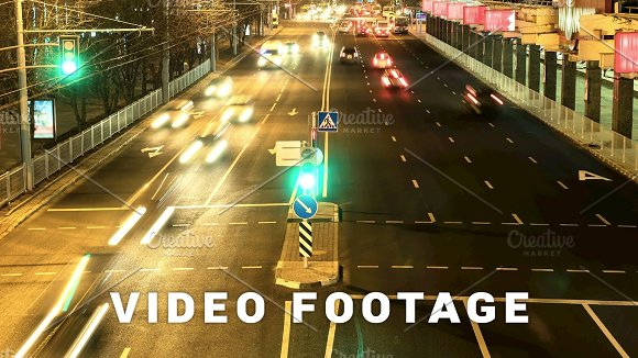 Stream Of The Cars In The Night City Smooth Blurred Motion Timelapse Shot