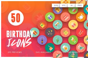 70% Off - 50 Birthday Icons