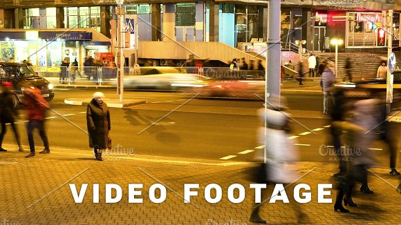 Pedestrians Crossroads Smooth Blurred Motion In The Night City Timelapse Shot