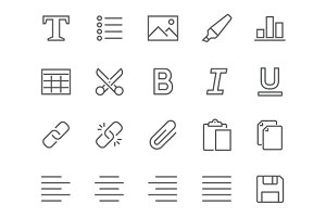 Line Text Editing Icons