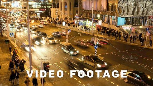 Stream Of Cars Through The Pedestrian Crosswalk Blurred Motion Timelapse Shot