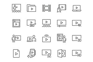 Line Video Icons