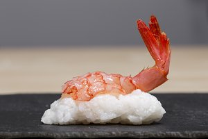 Red prawn sushi