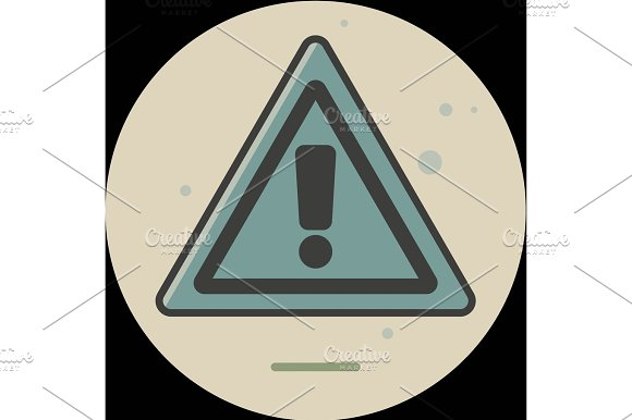 Attention Sign Icon With Long Shadow Simple Circle Icon