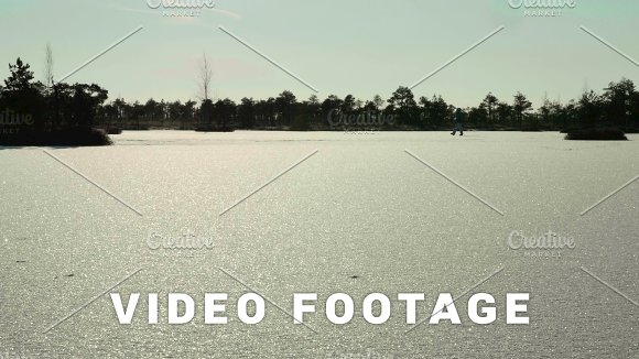 Snowy Field On The Frozen Lake Clean And Frosty Daytime Smooth Dolly Shot