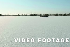 Frozen lake under the snow. Clean and frosty daytime. Smooth dolly shot
