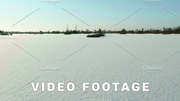 Frozen Lake Under The Snow Clean And Frosty Daytime Smooth Dolly Shot