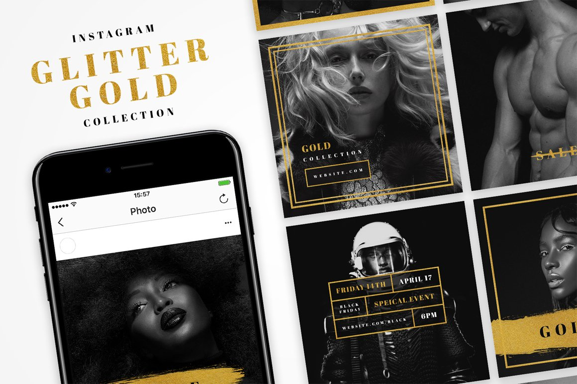 Instagram Glitter Gold Pack