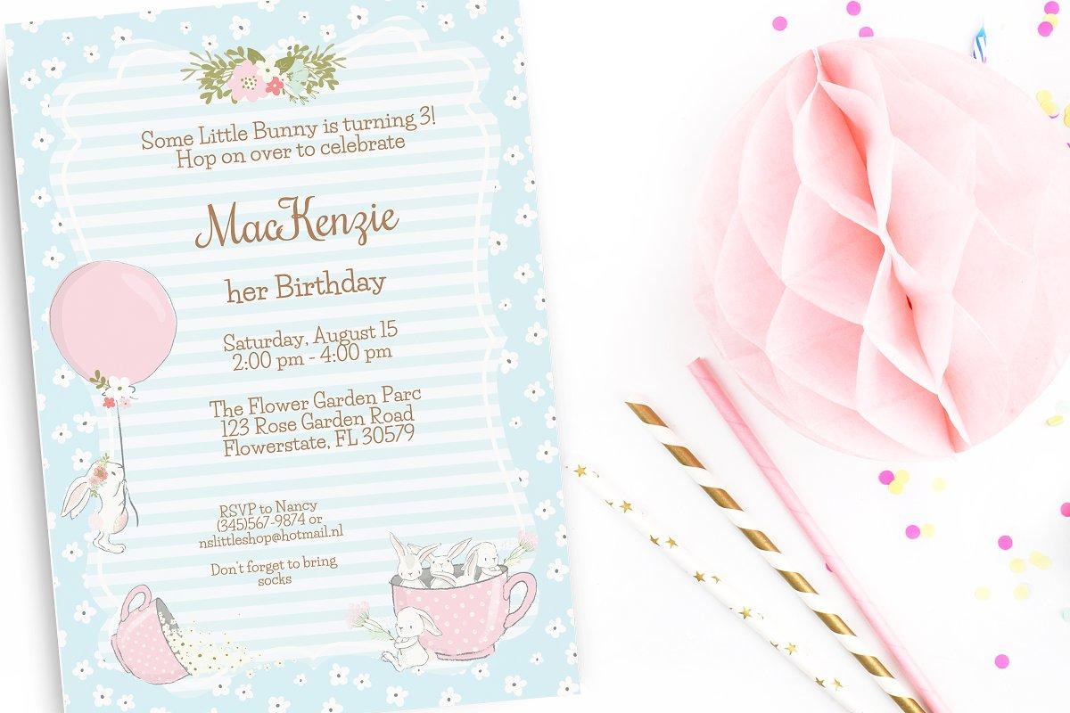 Bunny Birthday Party Invitation Templates Creative Market