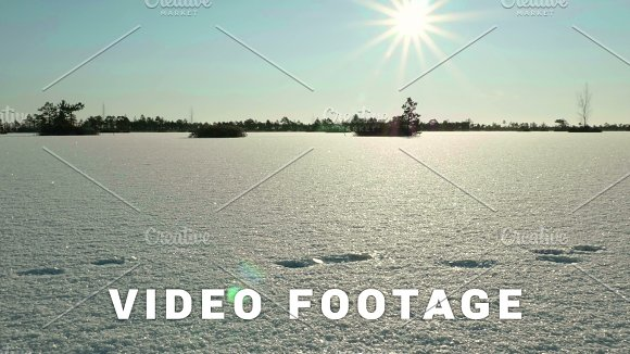 Sunset Over The Frozen Lake.Clean And Frosty Daytime Smooth Dolly Shot