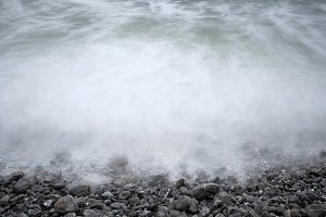 Waves crashing against the rocks