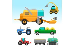 Agricultural vehicles and harvester machine combines and excavators icon set with accessories for plowing mowing, planting and harvesting vector illustration.