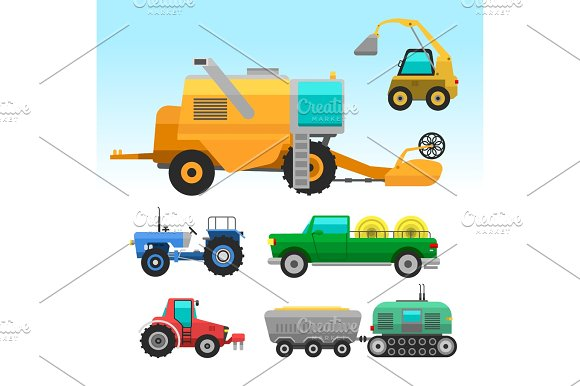 Agricultural Vehicles And Harvester Machine Combines And Excavators Icon Set With Accessories For Plowing Mowing Planting And Harvesting Vector Illustration