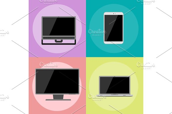 Electronic Gadgets Icons Technology Electronics Multimedia Devices Everyday Objects Control And Computer Connection Digital Network Vector Illustration