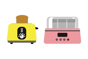 Old fashioned toaster vector illustration kitchenware appliance hot symbol electric tool and domestic yogurt electrical cooking stove household technology.