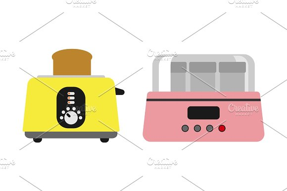 Old Fashioned Toaster Vector Illustration Kitchenware Appliance Hot Symbol Electric Tool And Domestic Yogurt Electrical Cooking Stove Household Technology