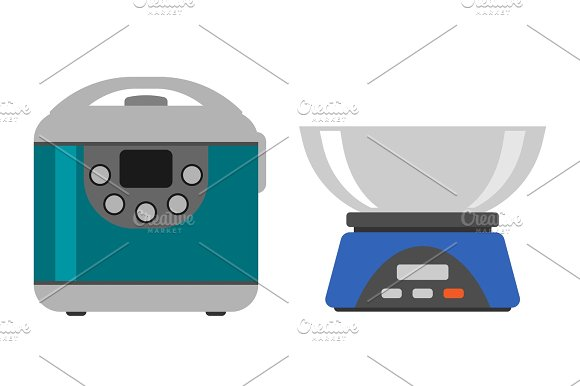 Home Weight Instrument Measurement Tool Cooking Kitchen Home Equipment And Flat Style Household Cooking Food Template Technology Icon Concept Vector