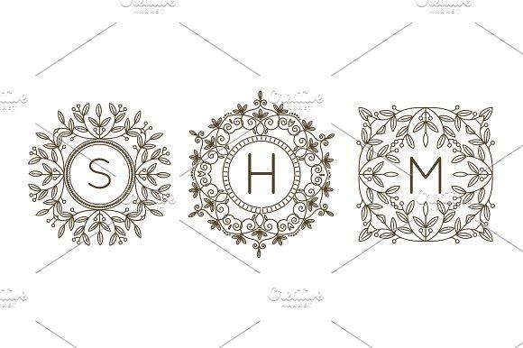 Monogram Logo And Text Badge Emblem Line Art Vector Illustration Luxury Template Flourishes Calligraphic Leaves Elegant Ornament Sign