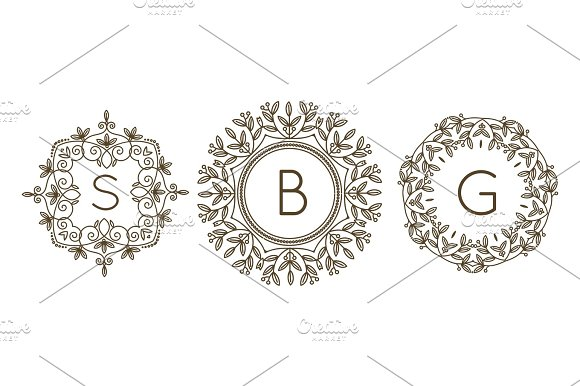 Monogram Logo And Text Badge Emblem Line Art Vector Illustration Luxury Template Flourishes Calligraphic Leaves Elegant Ornament Sign