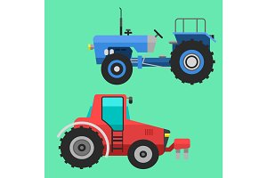 Agricultural vehicles tractor harvester machine combines and excavators icon set with accessories for plowing mowing, planting and harvesting vector illustration.