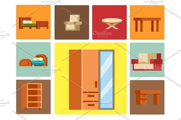 Sofa Isolated Vector Illustration Isolated Furniture Interior Living Element Comfortable Home Room Set House Wardrobe Table Armchair Classic Relax