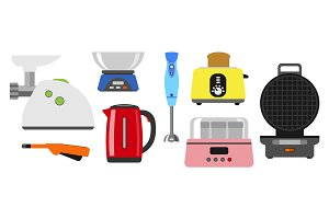 Home appliances cooking kitchen home equipment and flat style household cooking set electronics food template technology icon concept vector.