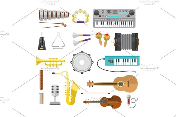 Different Music Instruments Vector Musical Guitar Violin And Sound Classical Concert Trumpet Collection Entertainment Composition Illustration
